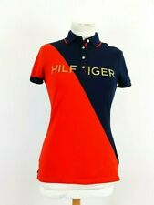 Tommy Hilfiger Ladies Blue Red Fitted Polo Shirt Top Size XS Golf Polo