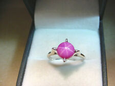 LINDE LAB CREATED PINK STAR SAPPHIRE 2.18 CTS VINTAGE 14K WHITE GOLD RING