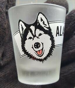 Alaska Husky Dog Shot Glass Drink Cup Vintage Advertising Logo Liquor Alcohol
