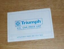Triumph Price List July 1974 - Stag 2500 PI 2500 TC 2000 Dolomite Toledo