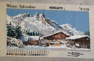 Completed CROSS STITCH WINTER SPLENDOUR By PENELOPE Swiss Mountain Chalet Scene