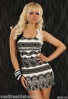 Vestitino Miniabito Donna Vestito Abito MISS GOLD C089 Bianco/Nero Tg S/M M/L