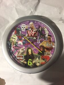 1999 WWF Attitude MGA Entertainment Wall Clock Undertaker The Rock/Clock Works