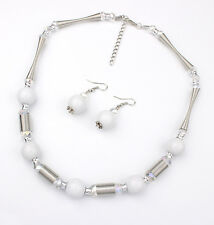 silver plated spring chain white beads necklace/earrings set US SELLER