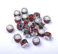 20pcs Big Hole TUBE SHAPES Czech Crystal Rhinestone Pave Rondelle Spacer Beads
