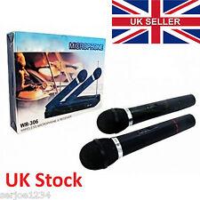 RLAKY Twin/Dual SET MICROFONO WIRELESS SYSTEM + Ricevitore Karaoke Mic 2 x WR-306