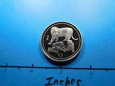 TIGER 1998 LIBERIA $5 RARE SHARP SILVER NICKEL COIN VERY FEW ON EBAY P12
