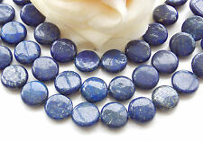 AAA 12mm Natural Egypian Blue Lapis Lazuli Coin Loose Beads Gems 15'' F-28