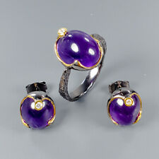 Vintage Natural Amethyst 925 Sterling Silver SET  Ring Size 8/R114950