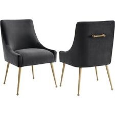 Brand New - Tov Furniture - Beatrix Velvet Side Chair - Grey Chair - Gold Legs