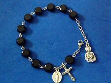 """Custom St JUDE Jet CRYSTAL Rosary Bracelet Saint Medal Stainless 10mm 8"""" Wrist"""