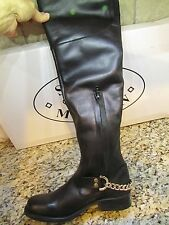 NEW STEVE MADDEN BLACK OVER THE KNEE TALL BOOTS WOMENS 7.5 OLGGA LEATHER CHAINS