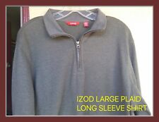 LARGE ORIGINAL IZOD SWEATER PULL OVER HEAVY JERSEY NWT COLOR FOREST 1/4 ZIPPER