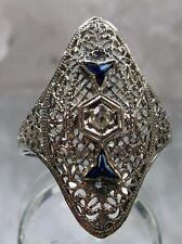 Antique Art Deco 1920s Filigree White Gold 14k Diamond Sapphire Ring Make Offer!