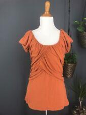 ANTHROPOLOGIE Knit Top S Orange DELETTA Wynwood Ruched Layered Tee