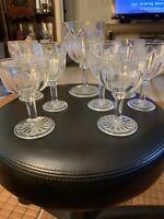 Vintage Hocking Glass Knife & Fork Colonial Pattern 9 Glasses 1930s