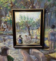 DIE BADENDEN.  Expressives Ölgemälde, meisterliche Lichtstimmung wie Cezanne