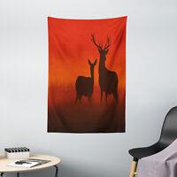 Hunting Tapestry Deer Doe Autumn Print Wall Hanging Decor