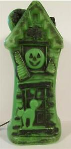RARE Vintage HALLOWEEN Green HAUNTED Mansion House Blow Mold Lighted WORKS