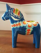 "VINTAGE 7.75"" SWEDISH BY GRANNAS OLSSONS DALA HORSE BLUE HAND-CARVED & PAINTED"
