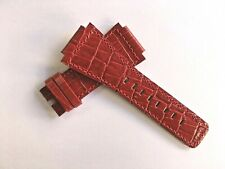 To Fit Versace 22mm Band Red Leather