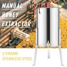 """Manual Honey Extractor 2/4 Frame Adjustable Honeycomb Beekeeping Drum 24"""" Stands"""