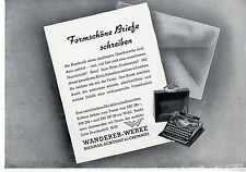 Wanderer- Werke Siegmar Schönau Chemnitz Schreibmaschnine Histor. Annonce 1938