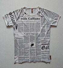 "Men's John Galliano ""Gazette"" Print Polyamide T-shirt Size fits M (made in Italy"