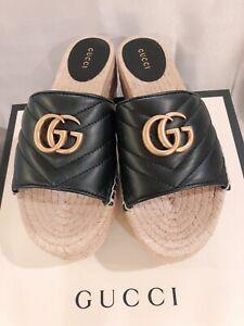 NWB 100% Gucci Women Calfskin GG Marmont Espadrilles Platform Slide Sandals 38.5