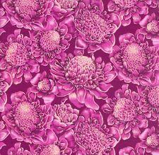 Sunburst Tropical flowers medium pink on pink fabric 50x56 cm F894-1 100% Cotton