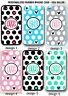 BLACK PINK POLKA DOT HEART PERSONALIZED MONOGRAM CASE For iPhone XS XR 8 7 6S SE