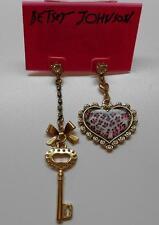 Betsey Johnson $40 Pink & Black Leopard Print Heart Key Mis Match Post Earrings