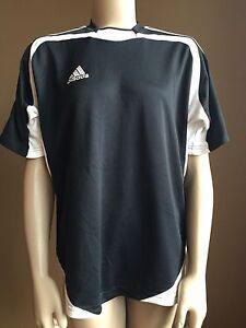 Juniors Adidas Climate Black & White Soccer Athletic Shirt Short Sleeve Size XL