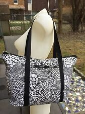 LeSportsac Animal Print Tote Bag Shop Shopper Black White with Black Trim