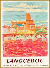Languedoc France French Europe European Vintage Travel Advertisement Art Poster