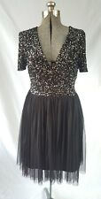 NWT MAYA TALL Black SEQUIN BEADED BRIDESMAID WEDDING EVENING Plunge Top DRESS 4