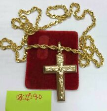 Gold Authentic Mens necklace 18k saudi gold cross necklace 22 inches chain..f