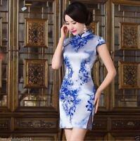 Retro New Slim Chinese Dress Women' Evening Mini Silk Dress Cheongsam Qipao