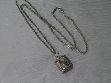 Estate Silvertone Cable Chain w Marcasite Rectangle Watch Locket Pendant Necklac