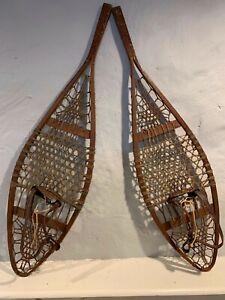 """Vintage Penobscot Indian Tribe Snow Shoes c.1920's - 1933 42"""" long. Osgood a445"""