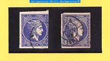 Griechenland-Königreich-Hermeskopf-1882-30 Lepta-ultramarin+schieferblau-gebr.