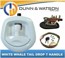 White Recessed Folding T Lock / Handle (Trailer Toolbox) Drop T Whale Tail