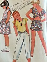 Simplicity Sewing Pattern 6863 Crop Top Open Back Shorts Skirt Summer 10 12 14