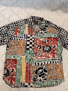 Jam's World 30th Anniversary Men's XL Multi Color Floral Shirt Missing Button