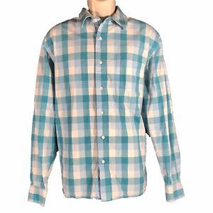 Mens Large Shirt Austin Clothing Co Cotton Blue White Check Plaid Long Sl Button