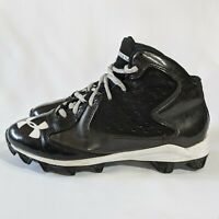 Under Armour Boy's Size 4y Hammer Mid JR Youth Football Cleats Black and White