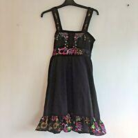 """UTTAM Dress Size M Black Lined Floral Detail Strappy Summer 36"""" Long Boho"""