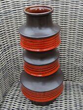 Vintage West Germany Glazed Pottery Large Vase Mid Century Modern Orange 18''