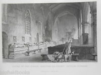 Antiquarian Durham Engraving - Aisle of the Tombs, Chester Le Street Church 1834
