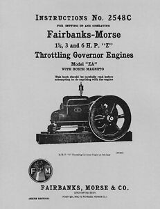 Fairbanks Morse 1½, 3 and 6 HP Z Instructions No. 2548C